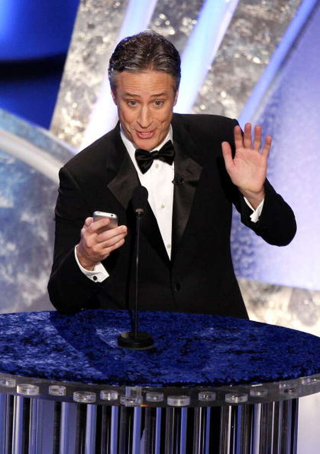 HOLLYWOOD - FEBRUARY 24:  ***NO ONLINE, NO INTERNET, EMBARGOED FROM INTERNET AND TELEVISION USAGE UNTIL THE CONCLUSION OF THE LIVE OSCARS TELECAST*** Host Jon Stewart speaks on stage during the 80th Annual Academy Awards held at the Kodak Theatre on February 24, 2008 in Hollywood, California.  (Photo by Kevin Winter/Getty Images) Photo: Kevin Winter, Getty Images / 2008 Getty Images
