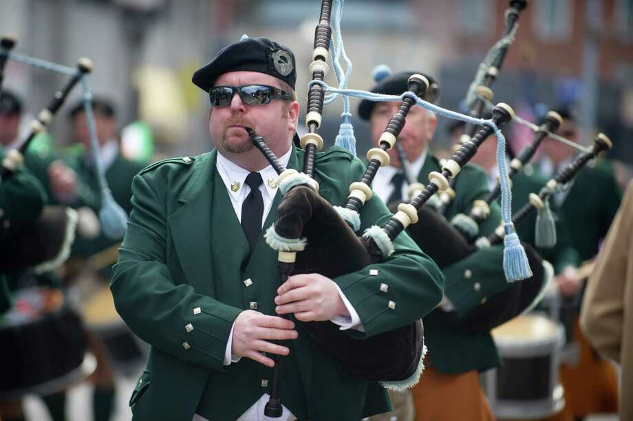 The County Tyrone Pipe Band performs during the 19th annual St. Patrick's Day parade in Stamford, Conn., on Saturday, March 8, 2014. Photo: Lindsay Perry / Stamford Advocate