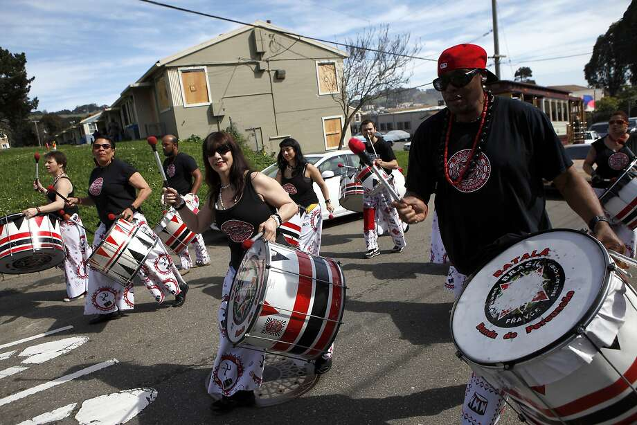 Reggae and samba performance group Batala SF marches through the Sunnydale projects during the annual Visitacion Valley Family Day and Parade started in 1999 to honor community leader Ruth Jackson. Photo: Michael Short, The Chronicle
