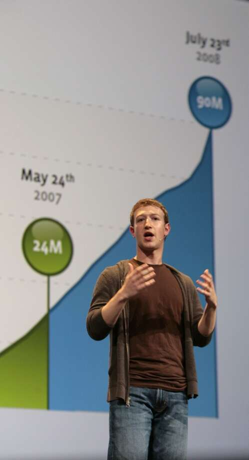 Facebook founder Mark Zuckerberg shows a graphic illustrating the growth of Facebook users as he speaks at F8, Facebook's second annual developers' conference in San Francisco, Calif., on Wednesday, July 23, 2008 Photo by Kim Komenich / San Francisco Chronicle Photo: Kim Komenich, The Chronicle/2008