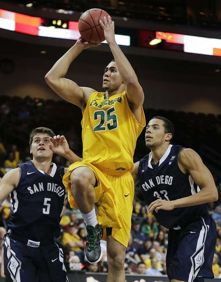 USF's Cole Dickersen shoots against San Diego's Chris Sarbaugh (5) and Jito Kok in the second half. Photo: Julie Jacobson, Associated Press