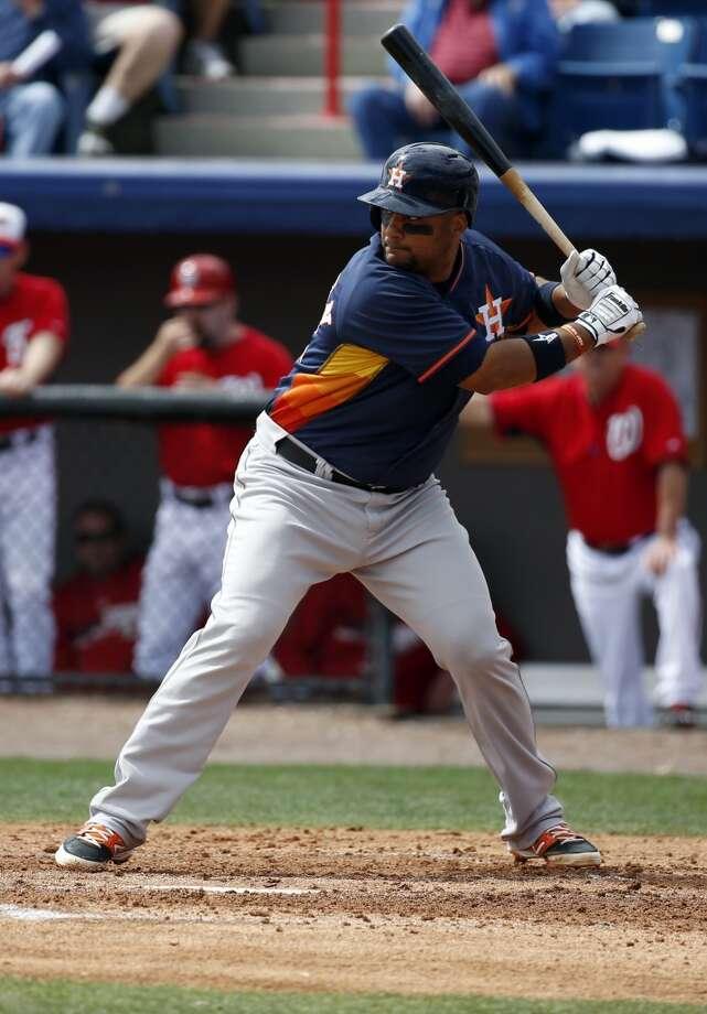 Astros catcher Carlos Corporan bats. Photo: Alex Brandon, Associated Press