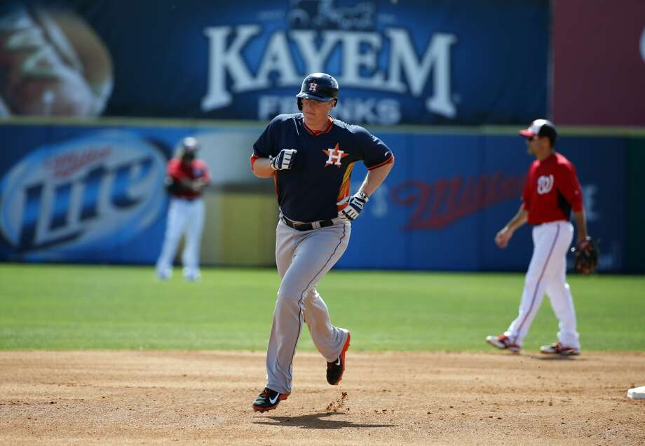 Astros left fielder Marc Krauss rounds the bases for his solo home run. Photo: Alex Brandon, Associated Press