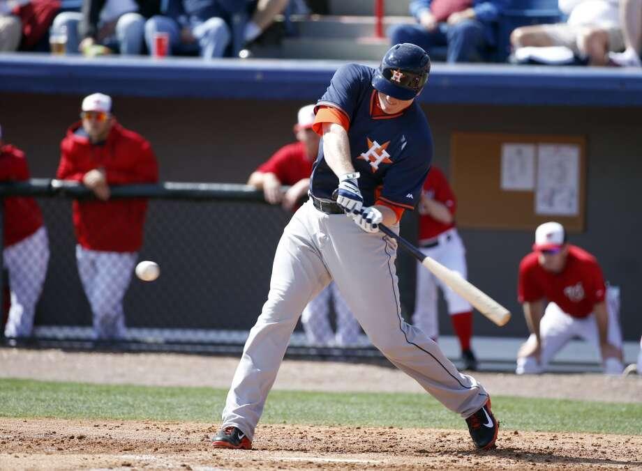 Astros left fielder Marc Krauss hits his solo home run. Photo: Alex Brandon, Associated Press