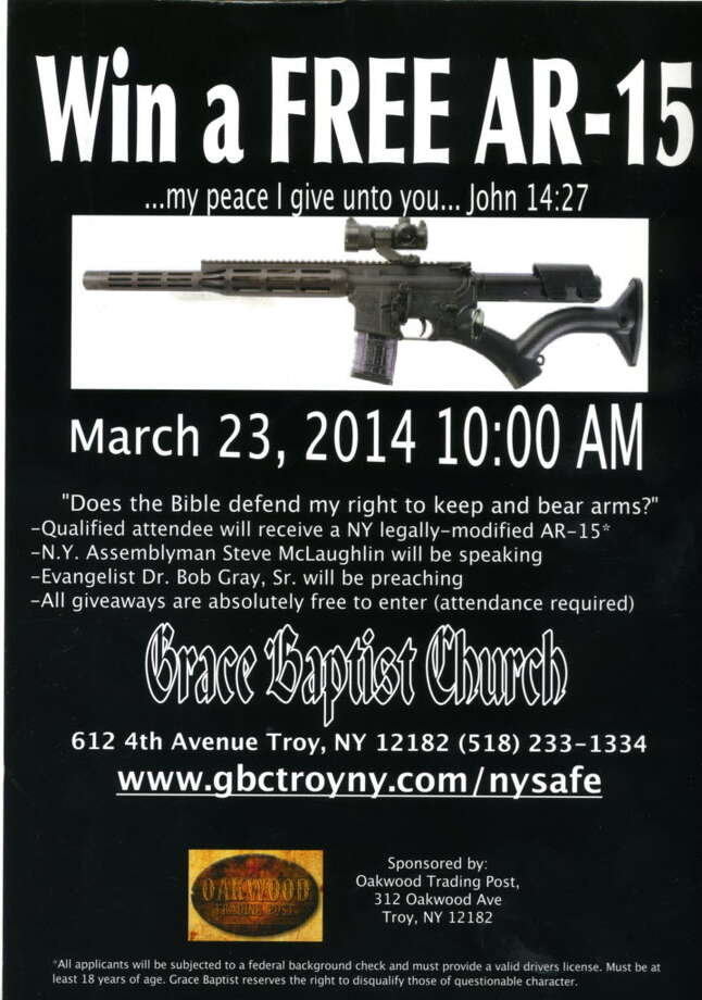 This flier promises a free AR-15 giveway to people who attend the March 23 service at Grace Baptist on Fourth Avenue in Troy.