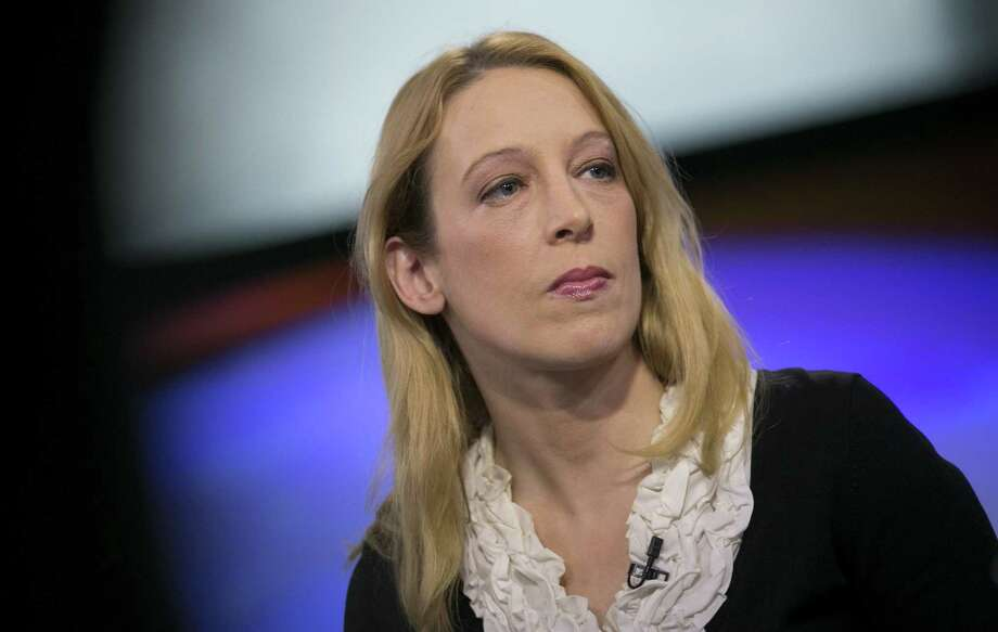Leah McGrath Goodman, appearing on TV news programs, defends her reporting against Dorian Nakamoto's denials that he is the father of bitcoin. Goodman has received threats, Newsweek says. Photo: Scott Eells, Bloomberg / © 2014 Bloomberg Finance LP