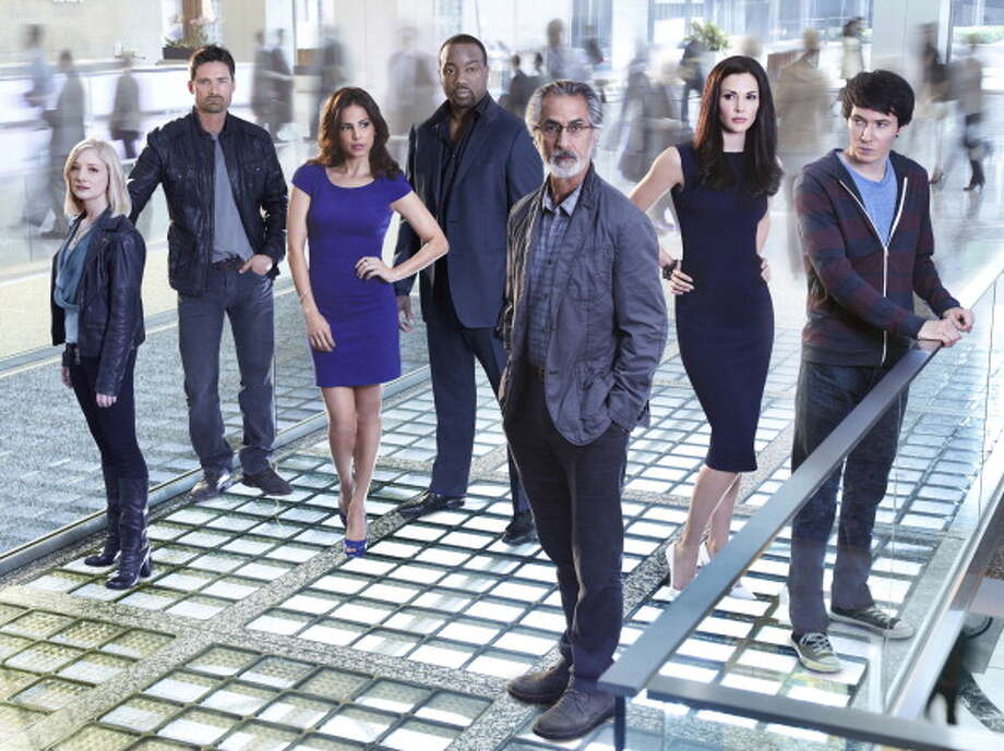 ALPHAS -- Season: 2 -- Pictured: (l-r) Erin Way as Kat, Warren Christie as Cameron Hicks, Azita Ghanizada as Rachel Pirzad, Malik Yoba as Bill Harken, David Strathairn as Dr. Lee Rosen, Laura Mennell as Nina Theroux, Ryan Cartwright as Gary Bell -- Photo: Syfy, Getty Images / 2012 Syfy Media, LLC