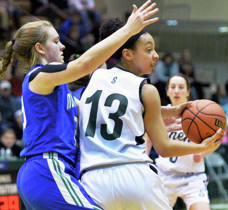 Cicero-North Syracuse's # 23 Elizabeth Miles, left, guards Shen's #13 Sydney Brown during the  Class AA girls' regional final Saturday March 8, 2014, in Troy, NY.  (John Carl D'Annibale / Times Union) Photo: John Carl D'Annibale / 00026034A
