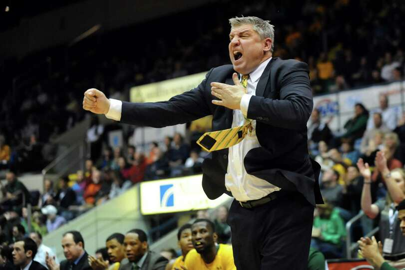 Siena's coach Jimmy Patsos reacts to a play in their second-round basketball game of the MAAC Tourna