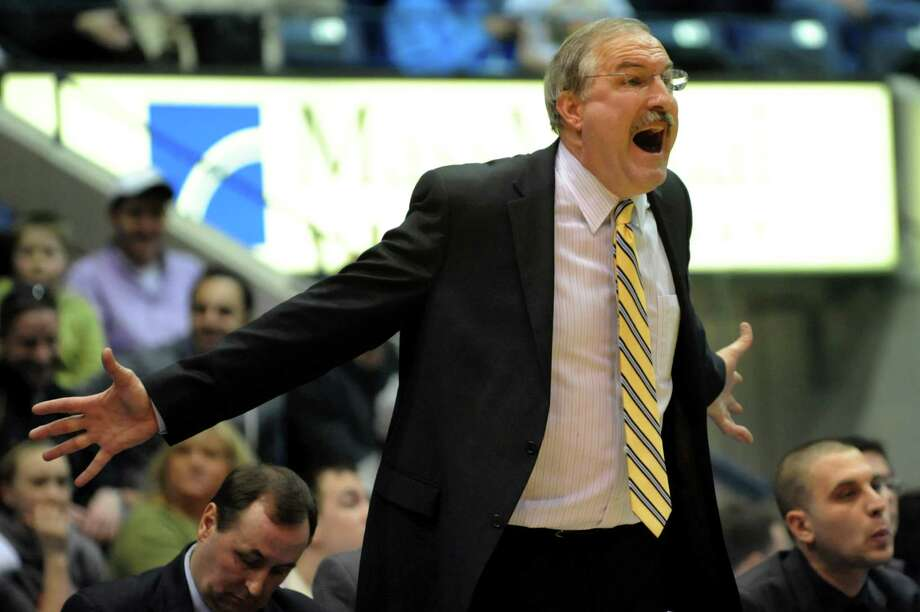 Canisius' coach Jim Baron reacts to a play in their second-round basketball game of the MAAC Tournament against Siena on Saturday, March 8, 2014, at MassMutual Center in Springfield, Mass. (Cindy Schultz / Times Union) Photo: Cindy Schultz / 00026001A