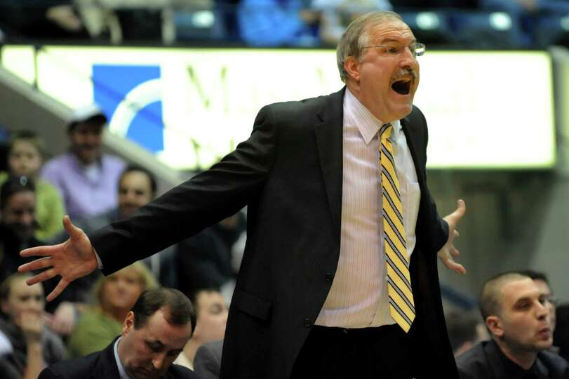 Canisius' coach Jim Baron reacts to a play in their second-round basketball game of the MAAC Tournam