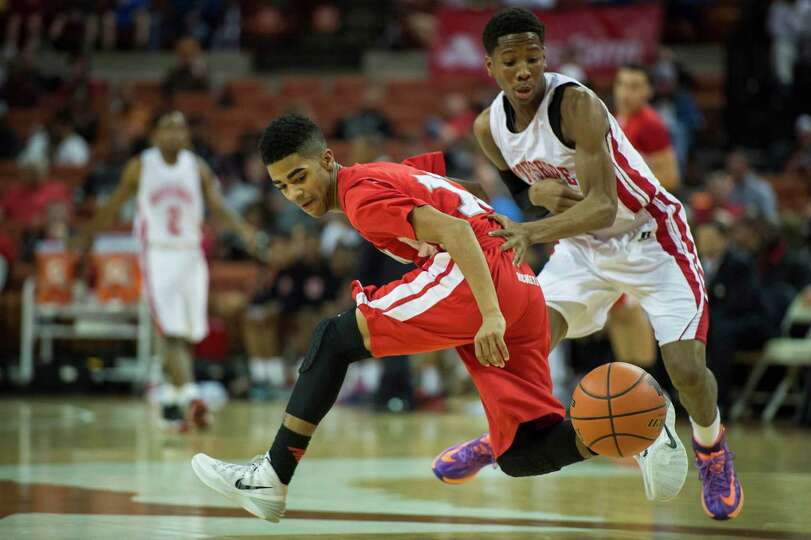 Galena Park North Shore guard Kerwin Roach (23) steals the ball from Converse Judson guard Rayshon W