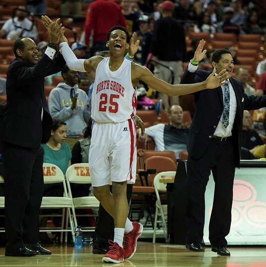 North Shore's Jarrey Foster (25) celebrates in the final minute of a victory over Converse Judson.
