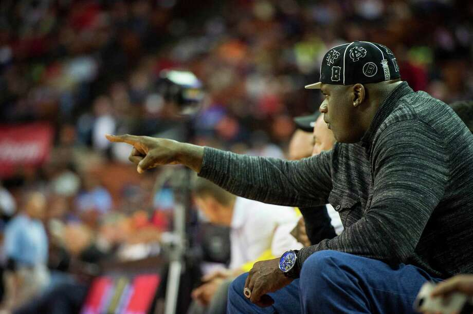 Shaquille O'Neal watches North Shore face Converse Judson. Photo: Smiley N. Pool, Houston Chronicle / © 2014  Houston Chronicle