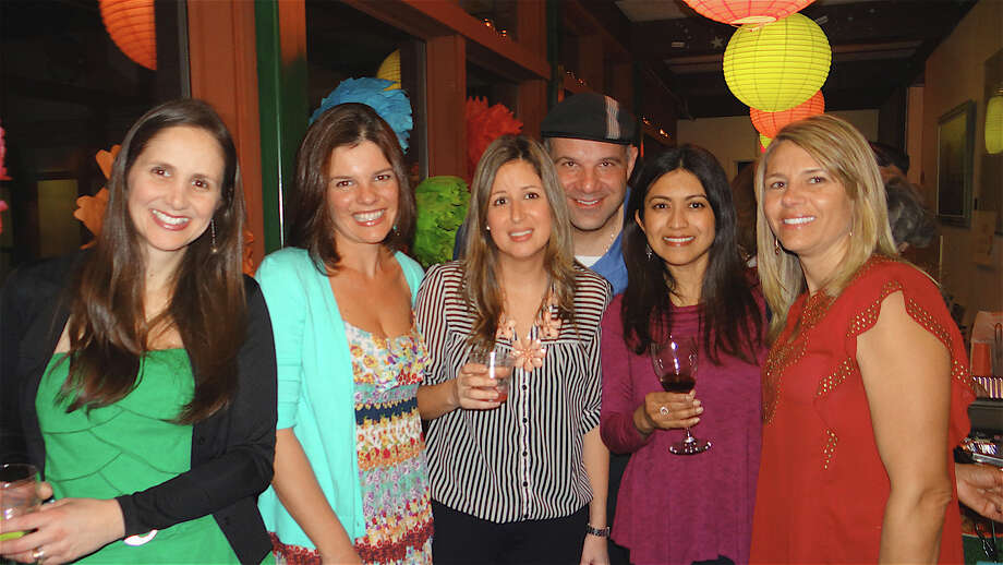 Danielle Rossoni, Cristiane Palaia, Renata and Alex Papadopoulos, Sheela Bhatia and Cindy Reejhsinghani at the Earthplace in Bloom fundraiser Saturday night. Photo: Mike Lauterborn / Westport News