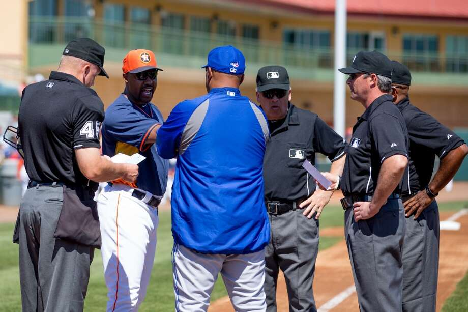 Astros manager Bo Porter and Blue Jays manager John Gibbons meet before the game. Photo: Rob Foldy, Getty Images