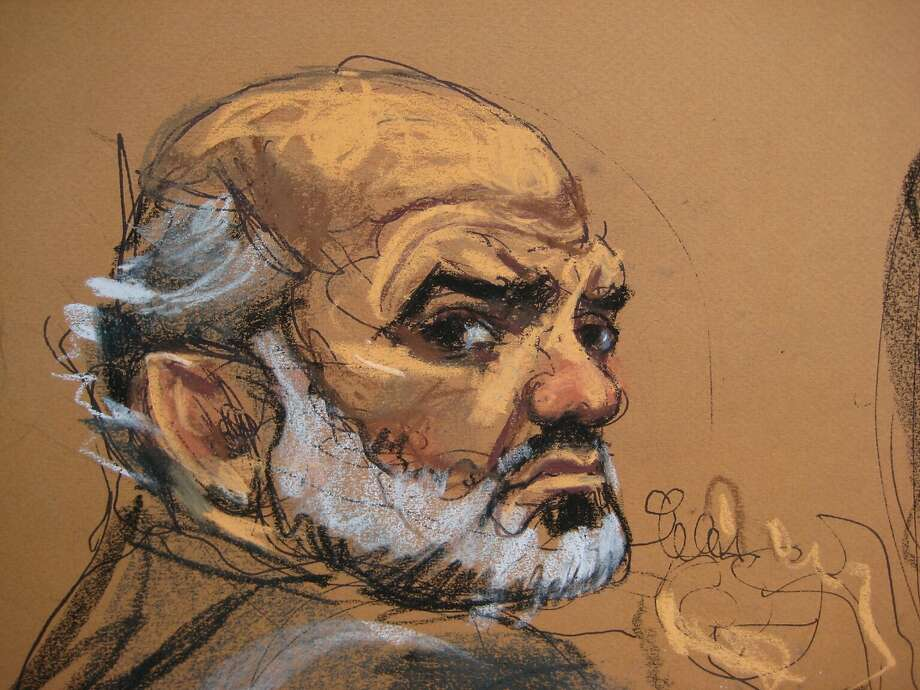 Suleiman Abu Ghaith, a son-in-law of Osama bin Laden, is shown in this courtroom sketch sitting during opening arguments at his trial in Manhattan Federal Court in New York March 5, 2014 .  Abu Ghaith, 48, is one of the highest profile defendants to face terrrorism charges in the United States for his involvement following the attacks of September 11, 2001 on the World Trade Center and the Pentagon.  REUTERS/Jane Rosenberg   (UNITED STATES - Tags: CRIME LAW POLITICS) NO SALES. NO ARCHIVES. FOR EDITORIAL USE ONLY. NOT FOR SALE FOR MARKETING OR ADVERTISING CAMPAIGNS Photo: Jane Rosenburg, Reuters