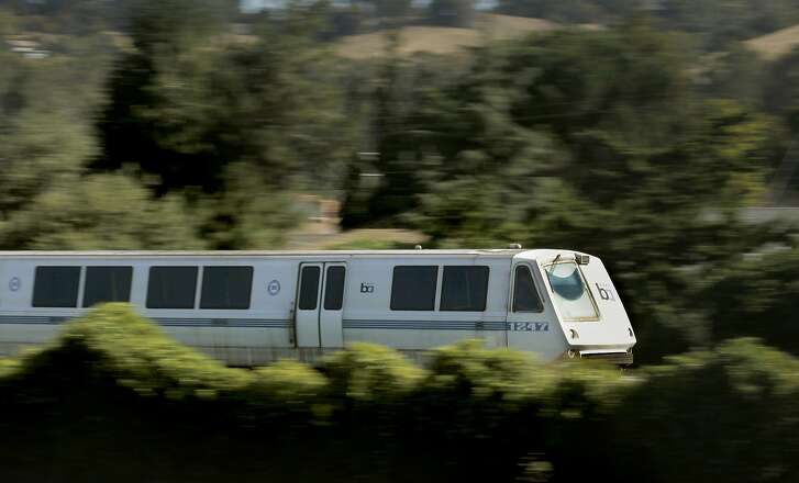 A BART train along the Fremont line rolls through Hayward, Calif., on Friday September 07, 2012. Trains were not stopping at the station Monday due to police activity in the area.