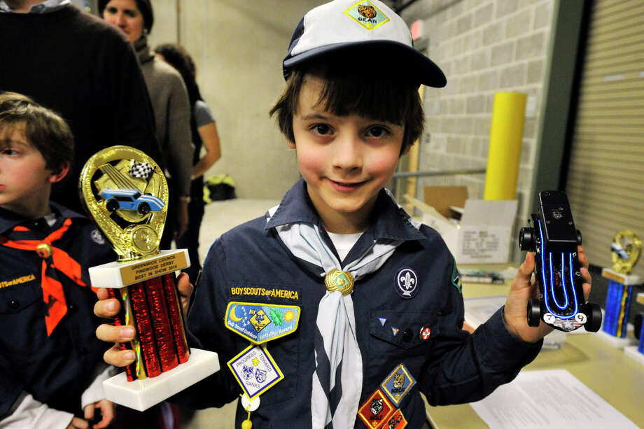 David Zelenz, from Pack 23, won the Best of Show award for his lighted up car during the Greenwich Boy Scouts of America Council's Pinewood Derby Championships at the Greenwich Public Safety Complex in Greenwich, Conn., on Sunday March 9, 2014. Photo: Jason Rearick / Stamford Advocate