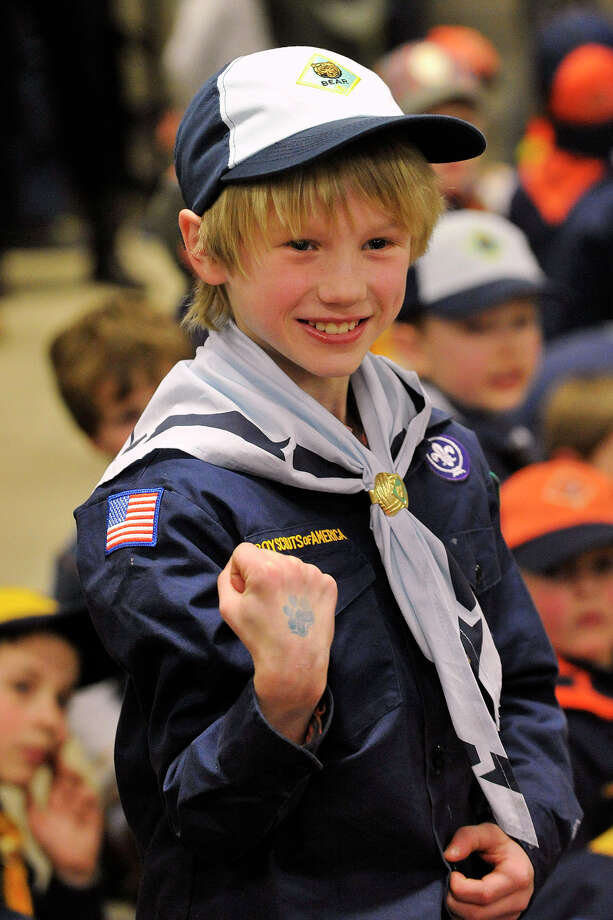 Charlie Zukanskas, from Pack 10, reacts as his car won a heat during the Greenwich Boy Scouts of America Council's Pinewood Derby Championships at the Greenwich Public Safety Complex in Greenwich, Conn., on Sunday March 9, 2014. Photo: Jason Rearick / Stamford Advocate