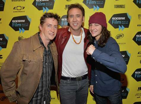 "AUSTIN, TX - MARCH 09:  (L-R) Director David Gordon Green, actor Nicholas Cage and actor Tye Sheridan pose for photos in the green room for the premiere of ""Joe"" during the 2014 SXSW Music, Film + Interactive Festival at Paramount Theatre on March 9, 2014 in Austin, Texas. Photo: Michael Buckner, Getty Images / 2014 Getty Images"