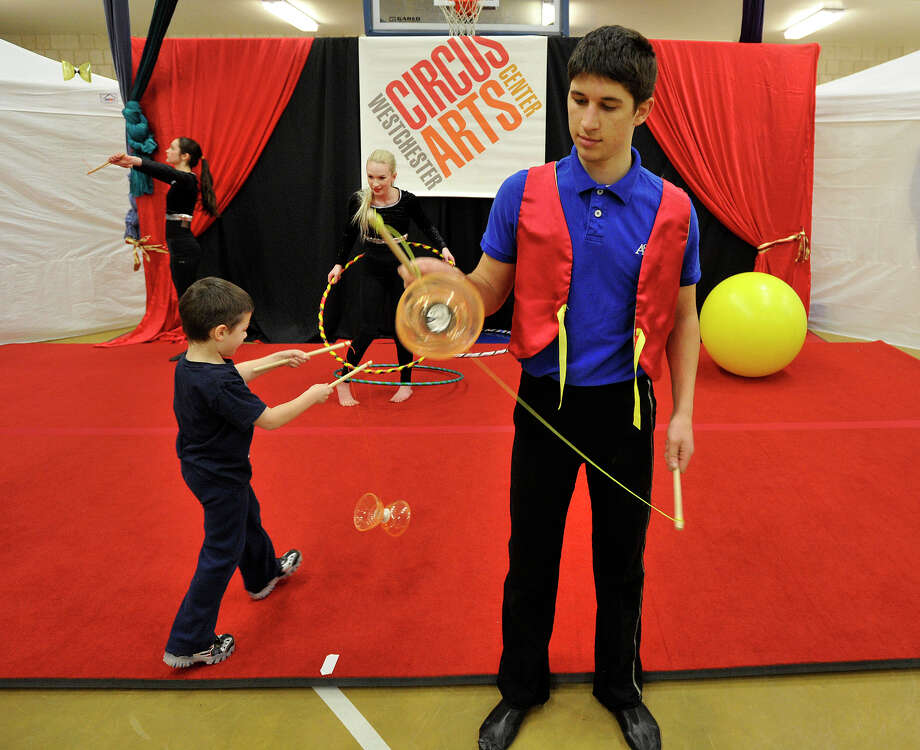 Jonathan Blau, with Westchester Circus Arts Center, plays with a Chinese yo-yo during the 22nd annual JCC Purim Carnival: Under the Big Top at the Jewish Community Center in Stamford, Conn., on Sunday, March 9, 2014. Photo: Jason Rearick / Stamford Advocate