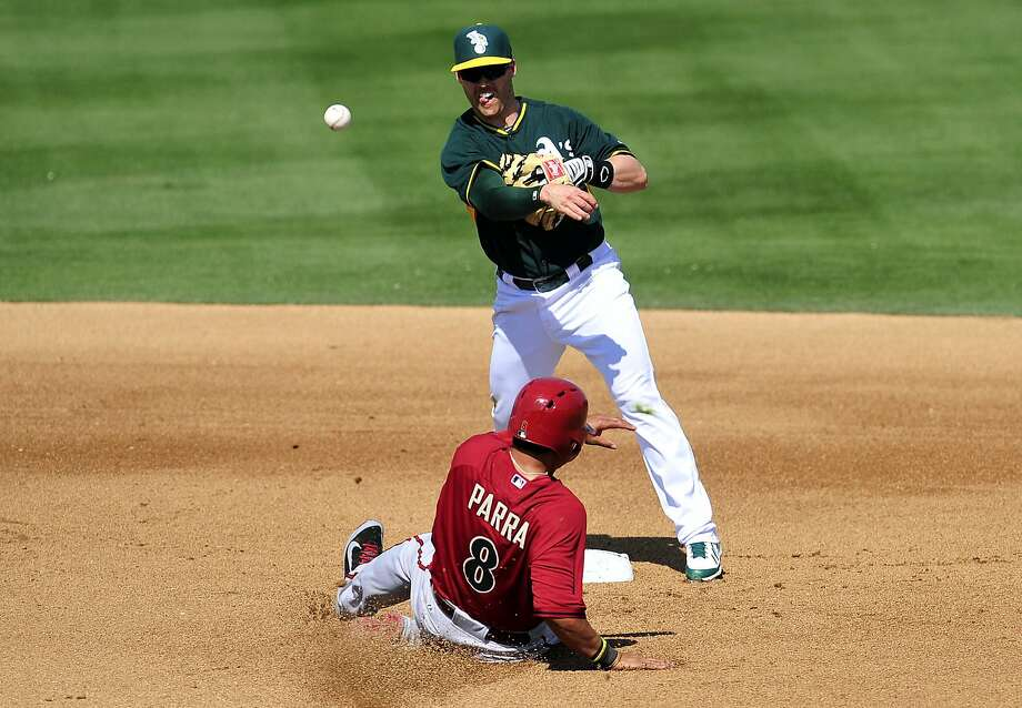 As his A's teammates learned Sunday, Jake Elmore has musical talents as well as baseball skills. Photo: Gary A. Vasquez, Reuters