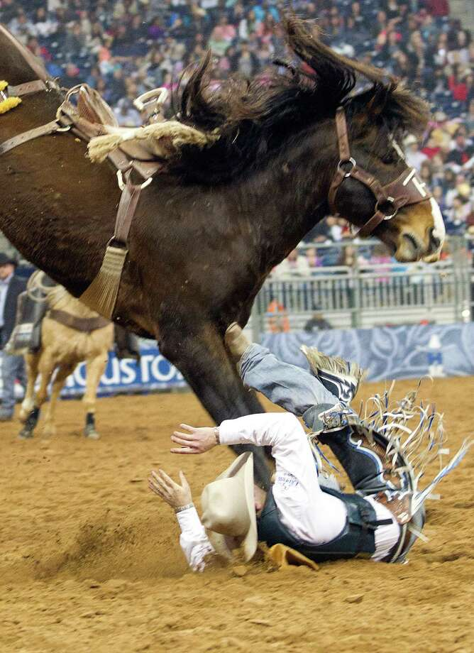 Jake Wright was bucked off in the third round putting him in fourth place in the Saddle Bronc Riding event at the Rodeo Houston BP Super Series ll Championship at Reliant Stadium Sunday, March 9, 2014, in Houston. Photo: Johnny Hanson, Houston Chronicle / © 2014  Houston Chronicle