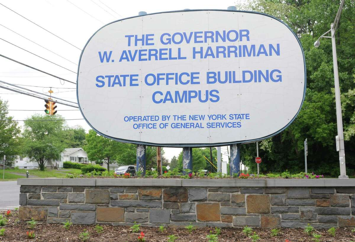 Sign at Western Ave. for the Harriman State Office Campus on Thursday, May 23, 2013 in Albany, N.Y. Gov. Andrew Cuomo has an initiative to offer businesses that local on SUNY campuses a wide range of tax breaks. (Lori Van Buren / Times Union)