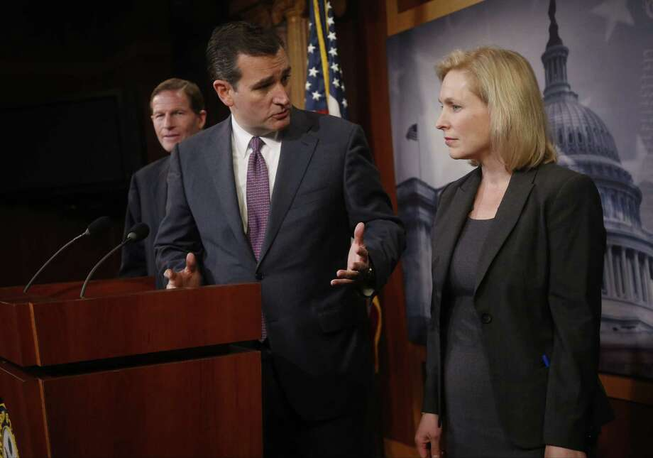 Ted Cruz, R-Texas, was one of the mix of senators that Kirsten Gillibrand, D-N.Y., got the support of for a failed bill to remove military commanders from decisions on trying sex cases.  Photo: Charles Dharapak, Associated Press / AP