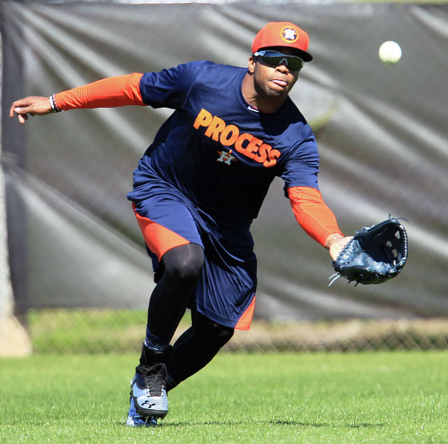 Delino DeShields is making the transition from second base to the outfield, where his speed allows him to make up for inexperience. Photo: Karen Warren, Staff / © 2013 Houston Chronicle