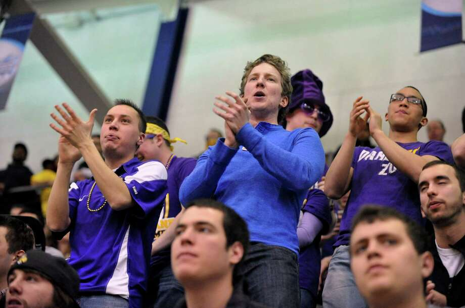 UAlbany fans cheer for UAlbany against Vermont during the secondhalf of the America East Tournament semifinal Men's basketball game in Albany, N.Y., Sunday, March 9, 2014.(Hans Pennink / Special to the Times Union) ORG XMIT: HP115 Photo: Hans Pennink / 00025987A