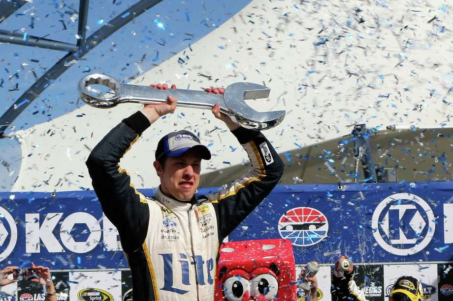 Brad Keselowski got to celebrate Sunday after Dale Earnhardt Jr. ran out of fuel, putting a wrench in his plans for his second victory of the year. Photo: Jerry Markland, Stringer / 2014 Getty Images