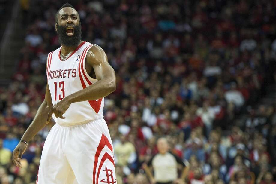 Rockets guard James Harden reacts after being called for an offensive foul during the first half. Photo: Smiley N. Pool, Houston Chronicle