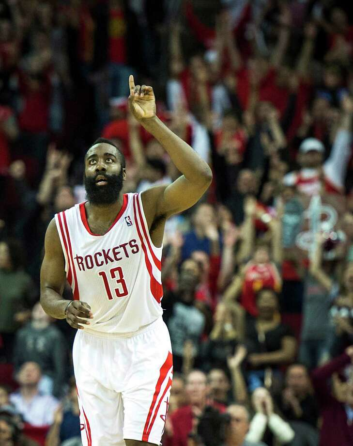 Rockets guard James Harden amassed 41 points, 10 rebounds, six assists and six steals - a statistical line duplicated only by Michael Jordan since 1986 - in Sunday's win over the Trail Blazers. Photo: Smiley N. Pool, Staff / © 2014  Houston Chronicle