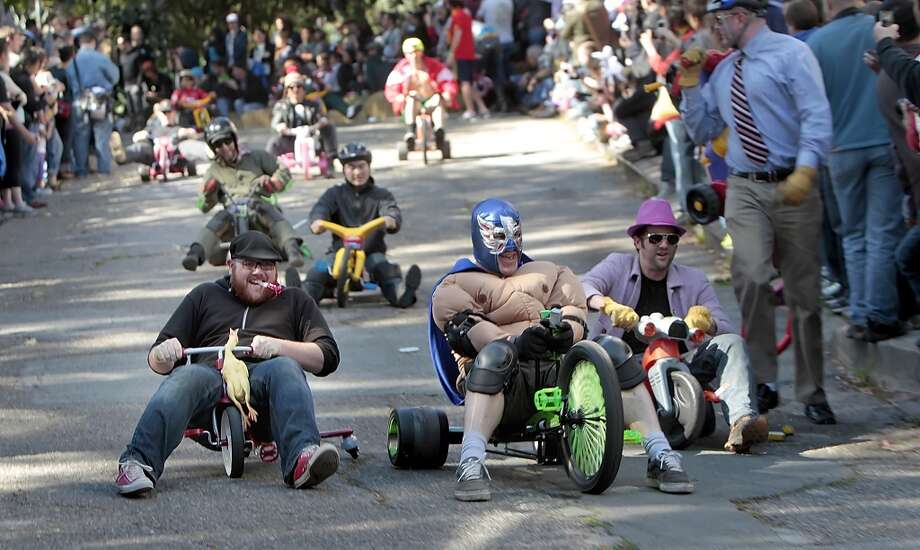The BYOBWAn alternative Easter activity, Bring Your Own Big Wheel features racers speeding down Vermont St. in Potrero Hill on plastic or otherwise flimsy projectiles. Photo: Lacy Atkins, The Chronicle