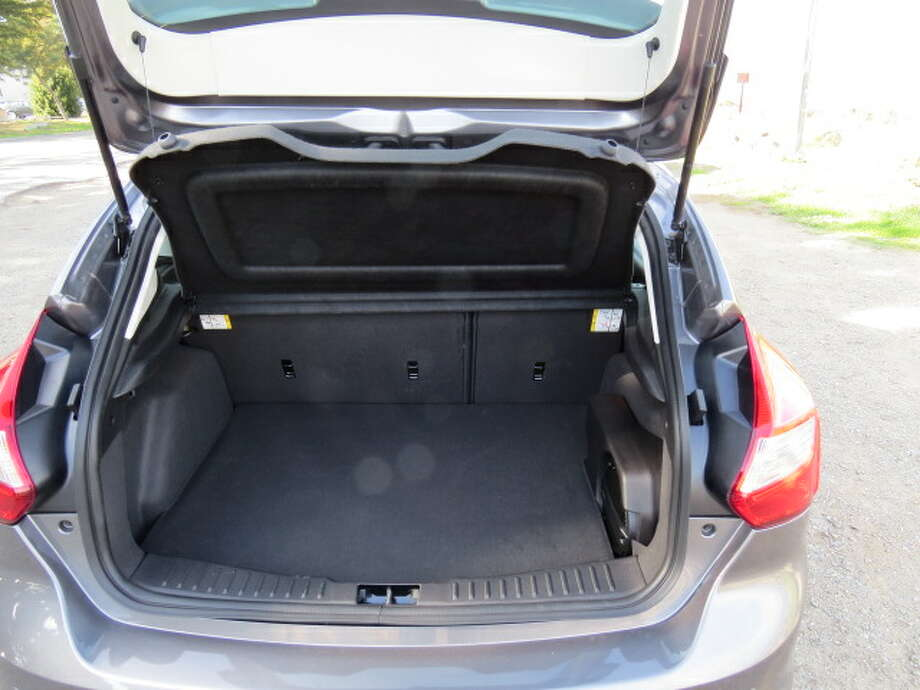 With the rear seats down, you have 44.8 cubic feet of luggage space and with the seats up, there's 23.8 cubic feet. It's plenty for a car this size, but it's not going to haul the living room furniture.
