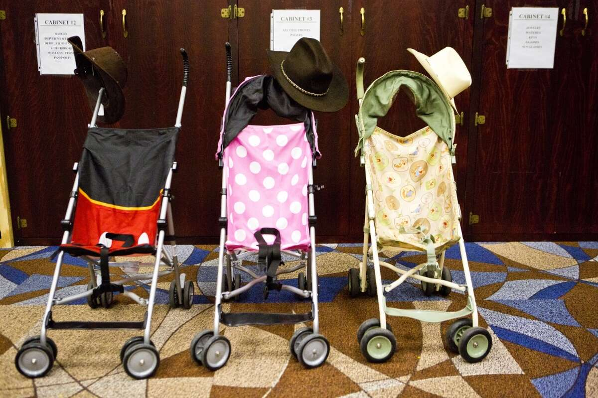 Baby strollers stored at the Rodeo Houston lost and found at Reliant Center. Saturday, March 8, 2014. ( Marie D. De Jesus / Houston Chronicle )