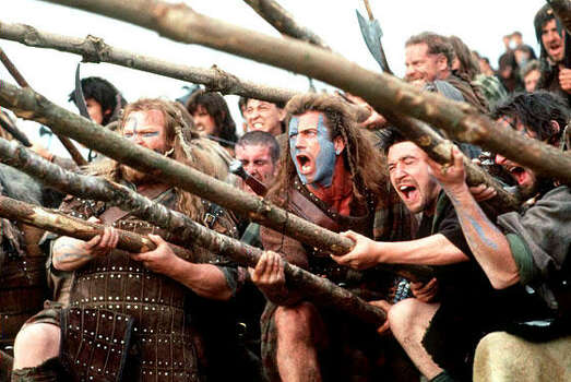 """Braveheart"" - Enraged at the slaughter of Murron (Catherine McCormack) -- his new bride and childhood love -- legendary Scottish warrior William Wallace (Mel Gibson, who also directed the film) slays a platoon of the local English lord's soldiers. This leads the village to revolt and, eventually, the entire country to rise up against English rule. With vivid battle scenes and a heaping portion of legend, Gibson's epic won five Oscars, including Best Picture. Now Available"