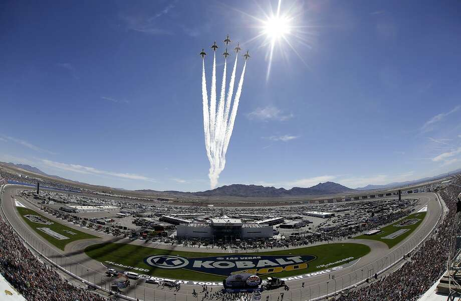 Ditch the Sonoma Raceway and instead watch NASCAR at the Las Vegas Motor Speedway. Pictured: The Air Force Thunderbirds perform a flyover at the start of a NASCAR Sprint Cup Series auto race Sunday, March 9, 2014, in Las Vegas. (AP Photo/Isaac Brekken) Photo: Isaac Brekken, Associated Press