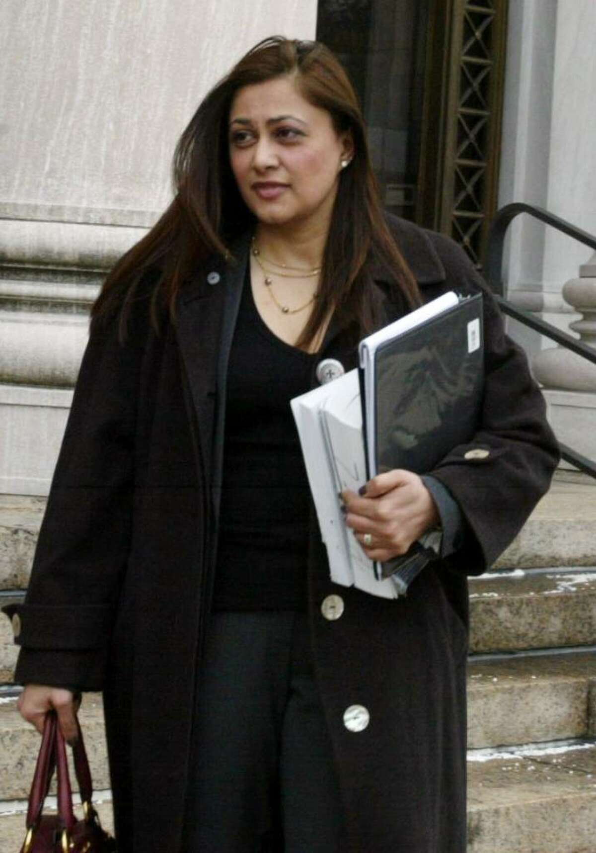 Assistant U.S. Attorney Krishna Patel, leaving the Federal Courthouse in New Haven on Feb. 2, 2010. Patel has developed an expertise in sexploitation cases.