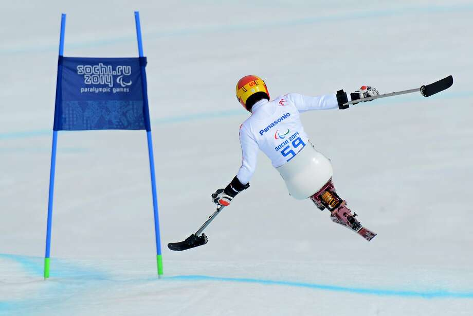 Speeding Suzuki:Japan's Takeshi Suzuki flies past a gate in the Men's Downhill Sitting at the Paralympic Games at Sochi. Photo: Kirill Kudryavtsev, AFP/Getty Images