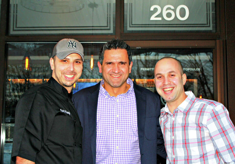 The three owners of the new restaurant Craft 260, 260 Post Road, invite diners to enjoy their food and drink and be comfortable. They are, from left: Chef Vincent Mascaro, Kosta Proskinitopoulos and Tomer Raviv. Photo: Contributed Photo / Fairfield Citizen