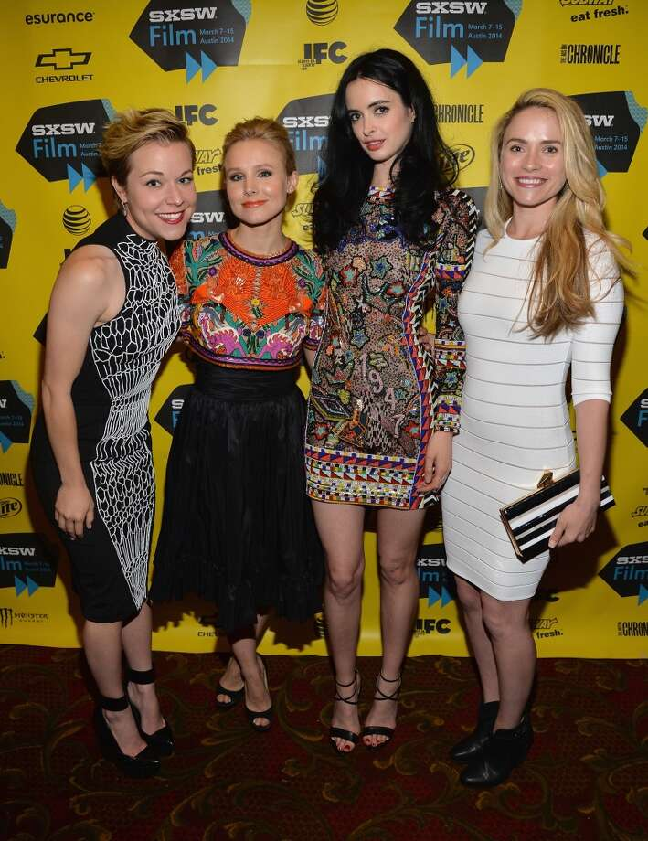 "(L-R) Actresses Tina Majorino, Kristen Bell, Krysten Ritter and Amanda Noret pose in the green room at the premiere of ""Veronica Mars"" during the 2014 SXSW Music, Film + Interactive Festival at the Paramount Theatre on March 8, 2014 in Austin, Texas. Photo: Michael Buckner, Getty Images For SXSW"