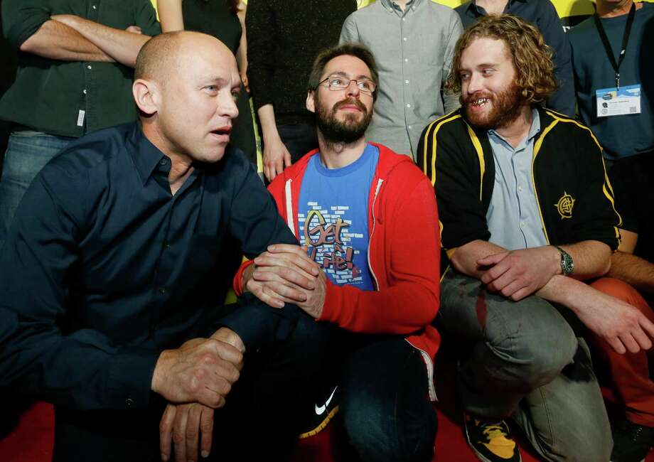"Mike Judge, from left, Martin Starr and T.J. Miller pose on the red carpet for the world premiere of his television series ""Silicon Valley"" during the SXSW Film Festival on Monday, March 10, 2014, in Austin, Texas. (Photo by Jack Plunkett/Invision/AP) Photo: Jack Plunkett, Associated Press / Invision"