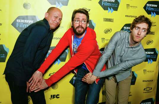 "Mike Judge, from left, Martin Starr, and Thomas Middleditch pose on the red carpet for the world premiere of their television series  ""Silicon Valley"" during the SXSW Film Festival on Monday, March 10, 2014, in Austin, Texas. (Photo by Jack Plunkett/Invision/AP) Photo: Jack Plunkett, Associated Press / Invision"
