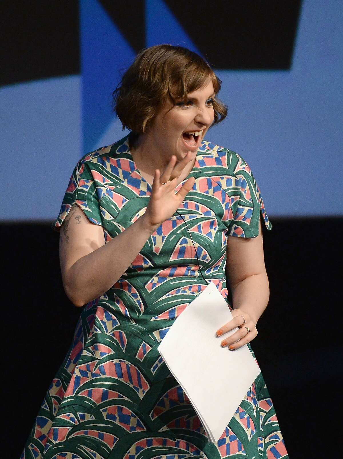 AUSTIN, TX - MARCH 10: Filmmaker Lena Dunham speaks during the SXSW 2014 Film Keynote during the 2014 SXSW Music, Film + Interactive Festival at the Austin Convention Center on March 10, 2014 in Austin, Texas. (Photo by Michael Buckner/Getty Images for SXSW)