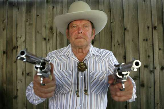 Joe Bowman: Joe Bowman, an internationally know Wild West marksmen. He performs in Wild West touring shows here and in Europe. He can hit an aspirin tossed in the air and a playing card's edge from 50 paces. Photo by Carlos Antonio Rios  Houston Chronicle