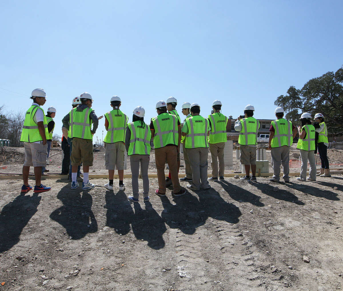 Students in Architectural Design and Principles of Architecture at Highlands High School get a first-hand look at the construction work going on at their school.