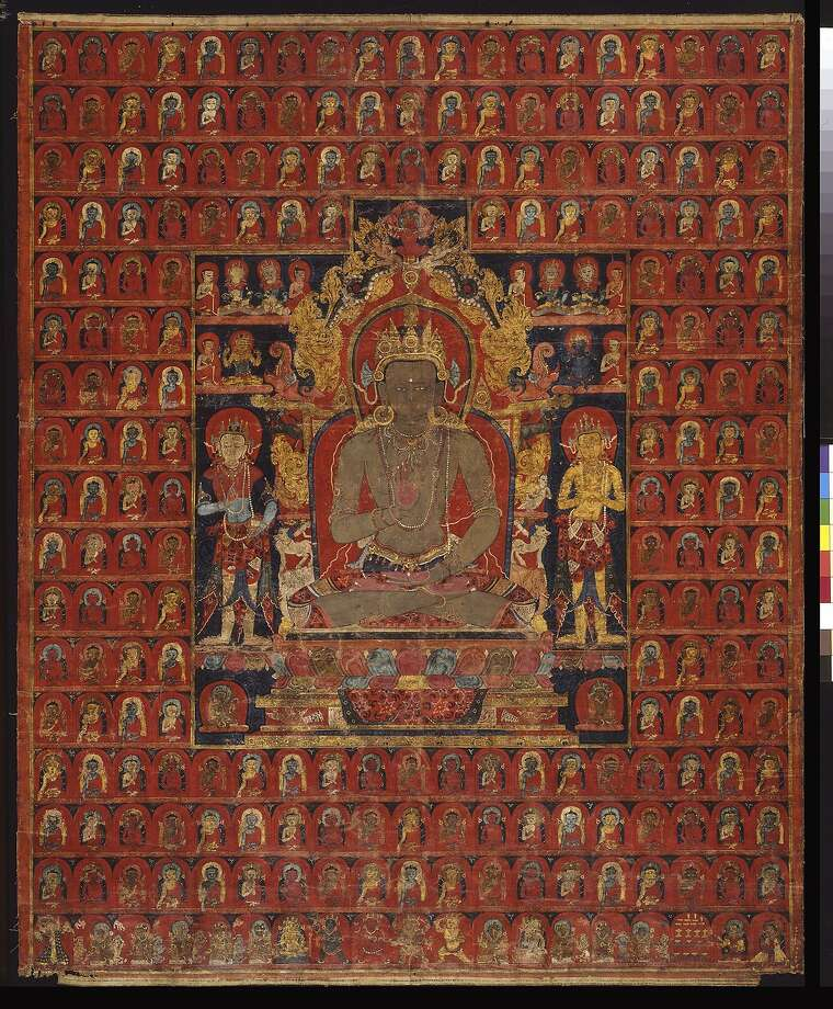 """The cosmic Buddha Amoghasiddhi"" (c. 1275-1350) Tibet, Sakya Monastery, is part of the one-room exhibition looking at the symbolic structure of the painted mandala. Photo: Unknown"